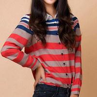 Pure and fresh elegant casual brief fashion slim horizontal stripe long-sleeve women's for female shirt spring autumn KKS052
