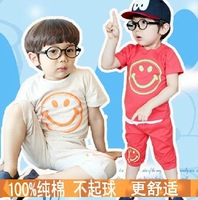fast shipping,baby boys summer clothing set,5sets/lot,simle face,good print,korean fashion,lovely design, gift for  cute son
