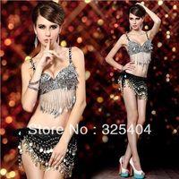 Free shipping Sparkling Sequins 3 Pieces Bra Panties Belt Stripper Pole Belly Dance Dress W736