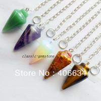 (Min.order 10$ mix) Free shipping (5pcs/lot) mixed natural stone pendulum Pendant Bead
