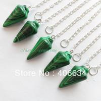 (Min.order 10$ mix) Free shipping (5pcs/lot) Malachite pendulum Pendant Bead