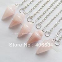 (Min.order 10$ mix) Free shipping (5pcs/lot) Rose Quartz pendulum Pendant Bead