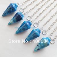 (Min.order 10$ mix) Free shipping (5pcs/lot) Blue Crazy Lace Agate pendulum Pendant Bead