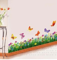 Large colorful butterflies grass wall sticker art mural decor wall stickers decals