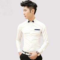 Мужская повседневная рубашка Men's clothing 2014 autumn and winter casual male slim solid color long-sleeve shirt male shirt