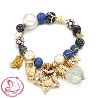 Female Acceaaories Bracelet Charm Color Gem Shining Beaded Bracelet Vintage Hollywood Fashion Bracelet For Woman