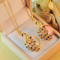 0261 Free shipping trendy Bohemian Style crystal peacock opal pendant necklace sweater link chain