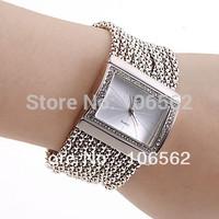 High Quality Antique Silver with Crystal Rhinestone lady Alloy Quartz Adjustable Wrist Watch Fashion Bracelet Gift Free shipping