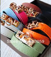 New Double wrap leather bracelet for women punk Rivet stud leather bracelet  Wholesale/retail