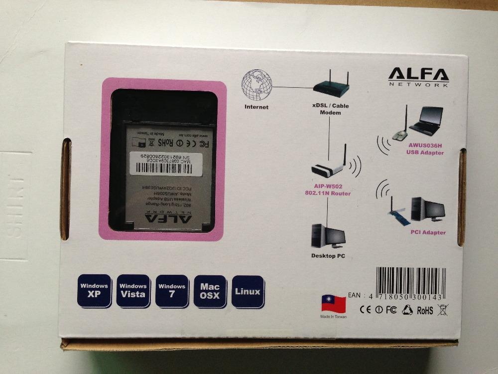 High power ALFA AWUS036H 1000mw wifi usb adapter 5db wireless adaptor antenna Realtek8187L Chipset x5 Free Shipping 2pcs/lot(China (Mainland))