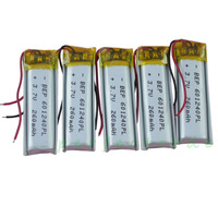 5 pcs 3.7V 260 mAh Polymer  rechargeable Lithium Li Battery For MP3 MP4 Bluetooth Headset  Recording pen 601240 free shipping