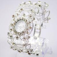 new Free shipping women rhinestone watches Silver with Crystal Rhinestone Women Lady Alloy Quartz Adjustable Wrist Watch Fashion