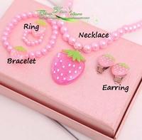 free shipping 10 Children jewelry children/kid/baby jewelry set handmade necklace cherry strawberry earring ring bracelet ring