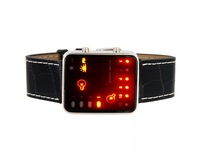 Free Shipping+2013 New Arrive+Cool Black men/children Binary Display PU Leather Band Sport LED Watch (Black) M.