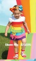 Free shipping!!(Retail) Fashion Girls Rainbow dress 2013 summer girls short-sleeved striped dress cake