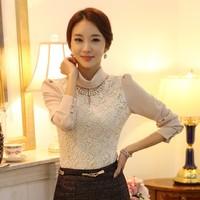 135 2014 slim thermal thickening plus velvet lace shirt basic turtleneck shirt