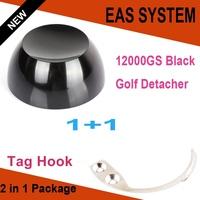1pcs 12000GS Universal Strong Magnet Golf EAS Detacher Hard Tag Remover Black + 1pcs Tag Hook Detacher