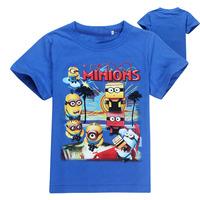 Free shipping Cartoon despicable me minions children kids t shirt minions kids boys clothes costume children's wear t shirt