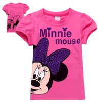 New 2014 Summer Cartoon Minnie Mouse Girl Children Baby short sleeve T shirts Kids Clothes girls 100% Cotton T Shirt gir tops