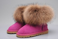 Free shipping Sell  5854 snow boots super large natural fox fur snow boots women's shoes waterproof boots female 5854