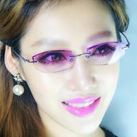 Ultra-light women's rimless titanium eyeglasses frame diamond myopia glasses diamond frame glasses