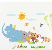 DIY Elephant Monkey Animal ZOO For Kids Baby Room Wall Sticker Paper Decor Decal LM1003