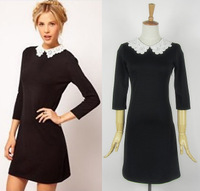 crochet Fashion slim lace collar long-sleeve carved turn-down collar peter pan collar elastic half sleeve one-piece dress
