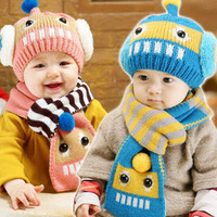 New 2013 Super fashion Winter Girls Boys Hats and scarves Children's Hat Earlap Caps Babies Sets Christmas Beanie  Brand caps