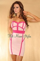 Sweety Pink Sexy Off The Shoulder Mini Women Summer Party Dress Evening HL Bandage Ladies Office Formal Wear HL8812