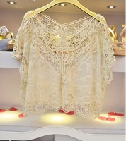 TT11 Celebrity Style Women's Bohemian Vintage Crochet Lace Paisley Floral Crop Tops T shirt Smock Pullover Blouse Free Shipping