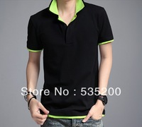 Hot SALE, Double collar lapel Mens T Shirt men's short Sleeve t shirt slim, mesh fabric t-shirt men