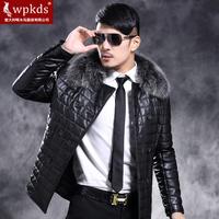 High grade! 2014 winter New fashion  Men's Wpkds fox fur 100% genuine leather       medium-long down jacket outerwear  coat