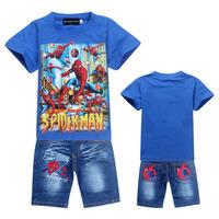 2014 new Baby suit boy girls Sport suits SPIDER-MAN baby 2pcs set children short sleeve T shirts+jeans pant kids clothing set