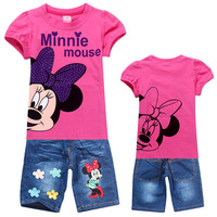 2014 HIGH QUALITY Children's suits Girls Cartoon Clothing Set Kids Minnie Mouse Sports Suit kids girl's short t shirt+Jeans 2pcs