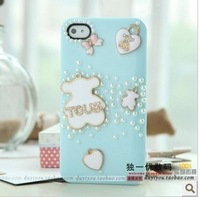 Three-dimensional cartoon bear4 following from 4 s shell pearl diamond phone sets