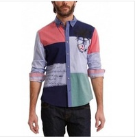 2013 new desigual official website main push models hit the color mosaic print men's shirts