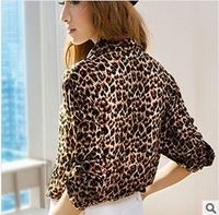 Wholesale 2013 New Top Sale Leopard Print Chiffon Shirt Bottoming Shirt Collar Was Thin Big Yards Long Sleeve Shirt S11