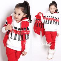 Free shipping 2013 children's clothing child autumn and winter sweatshirt set child vest sweatshirt piece set