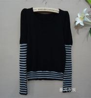 2013 women's basic shirt slim sleeve cutout stretch cotton brief all-match ball