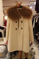 2013 woolen outerwear female wool collar medium-long wool coat outerwear