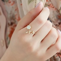 Free shipping/ Zircon flower opening ring, high quality ring, fashion jewelry,wholesale jewelry,woman,antiallergic
