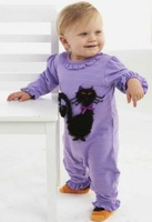 Free shipping pink baby purple rompers suits kids black lace cat suits