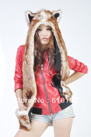 Ladies Mens Fashion Faux Fur Brown Coffee husky  Wool Hat Warm Winter Animal Cute Cap Bear Claws Hat Scarf and Glove Together