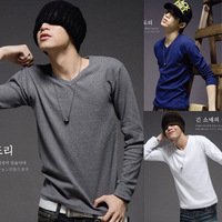 New 2013 Men's clothing base fashion wholesale man Pure color v-neck t-shirts slim fit,ten colors ,size M-XXL dy363