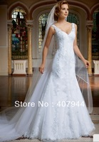Free shipping White tulle appliques Floor length Sweep Train V-neck Straps Sheath covered button Wedding Dresses
