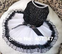 Free Shipping! MOQ 6pcs, Black and White dog skirt, 4 sizes available