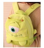 Free shipping 22cm super cute plush monster big eye backpack, school green bag for kindergarten children,birthday gift 1pc