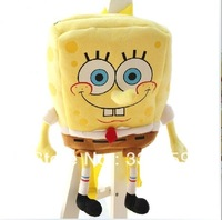 Free shipping super cute plush SpongeBob backpack, children school yellow bag, birthday gift for kindergarten children, 1pc