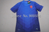 Top thai  quality 2014 World Cup Netherlands Holland away blue socce jersey   players version Holland  football  jersey