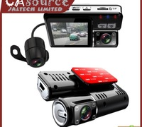 HD 720P Dual Lens Car DVR I1000 G-Sensor   H.264   MOV Video Recorders   120 Degree Ultra Wide Angle Lens Camcorder Car Camera